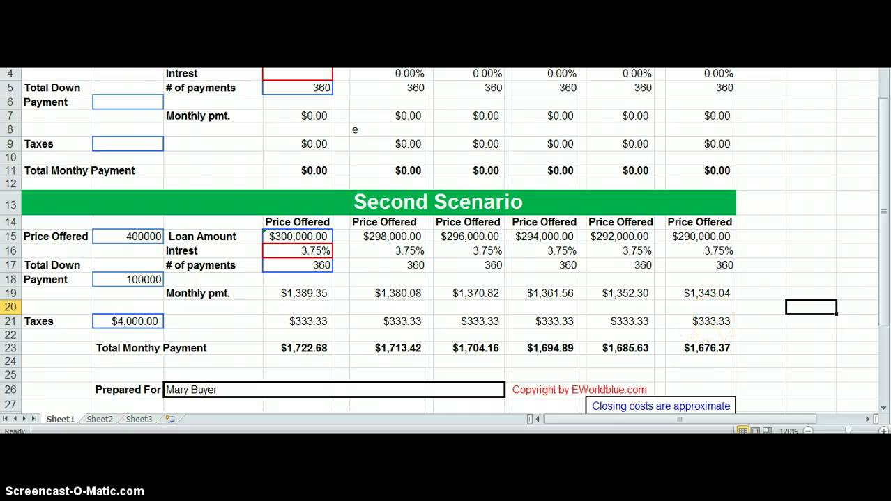 Affordability Worksheet Tutiotal - YouTube