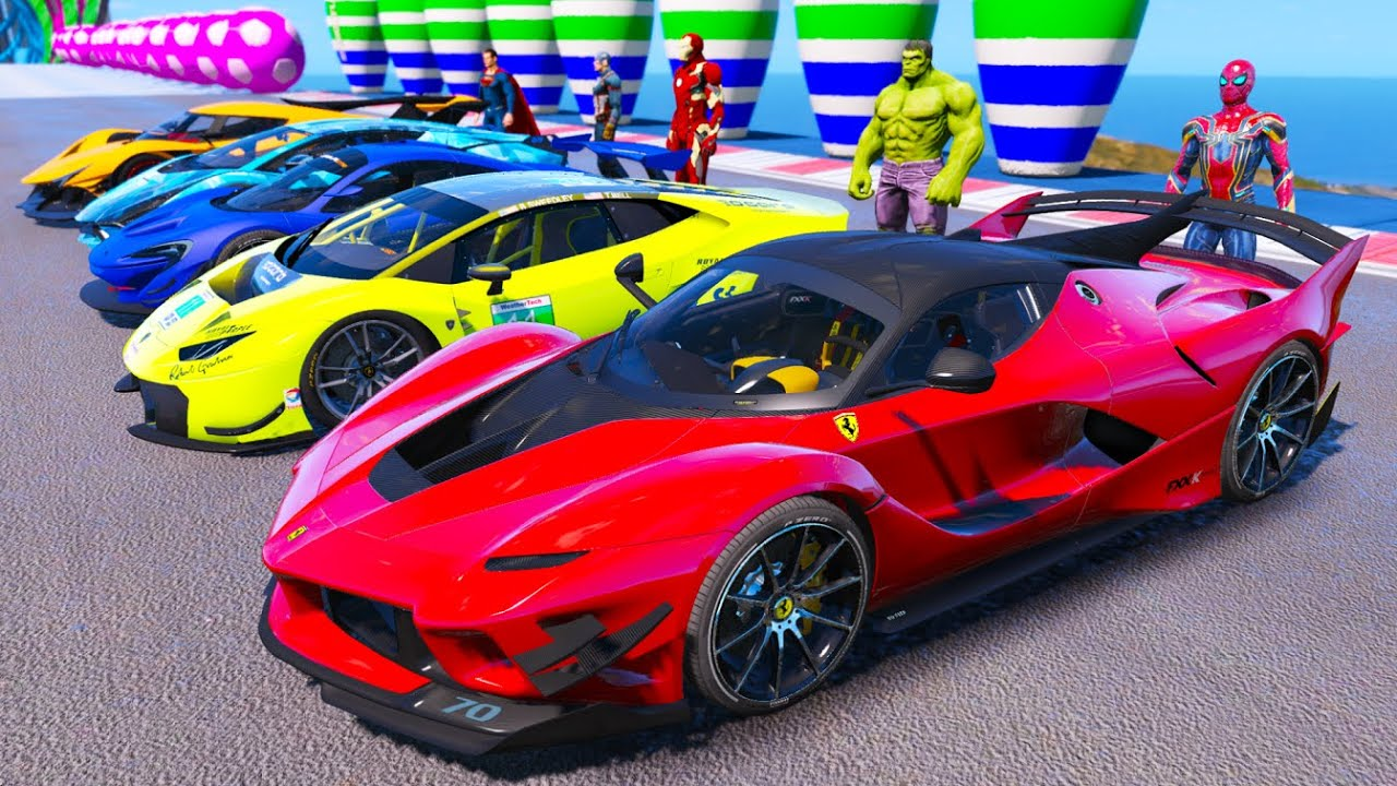 Download SPIDERMAN with SUPERHEROES and SUPER CARS Challenge On Ramps - GTA V MODS - KS Gaming