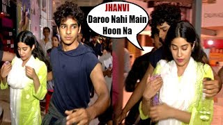 Jhanvi Kapoor's BOYFRIEND Ishaan Khattar SAVES Her From CRAZY FANS Outside PVR Cinema Juhu | Dhadak