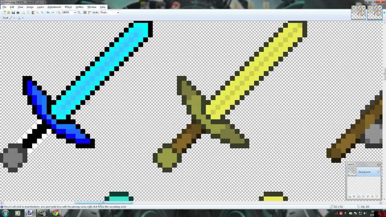 [MineCraft] Sword Texture Speed Drawing (Diamond,Gold,Iron ...
