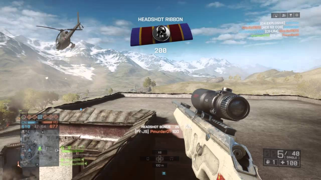 Battlefield 4 Elicottero : Battlefield ™ sniper vs helicopter youtube