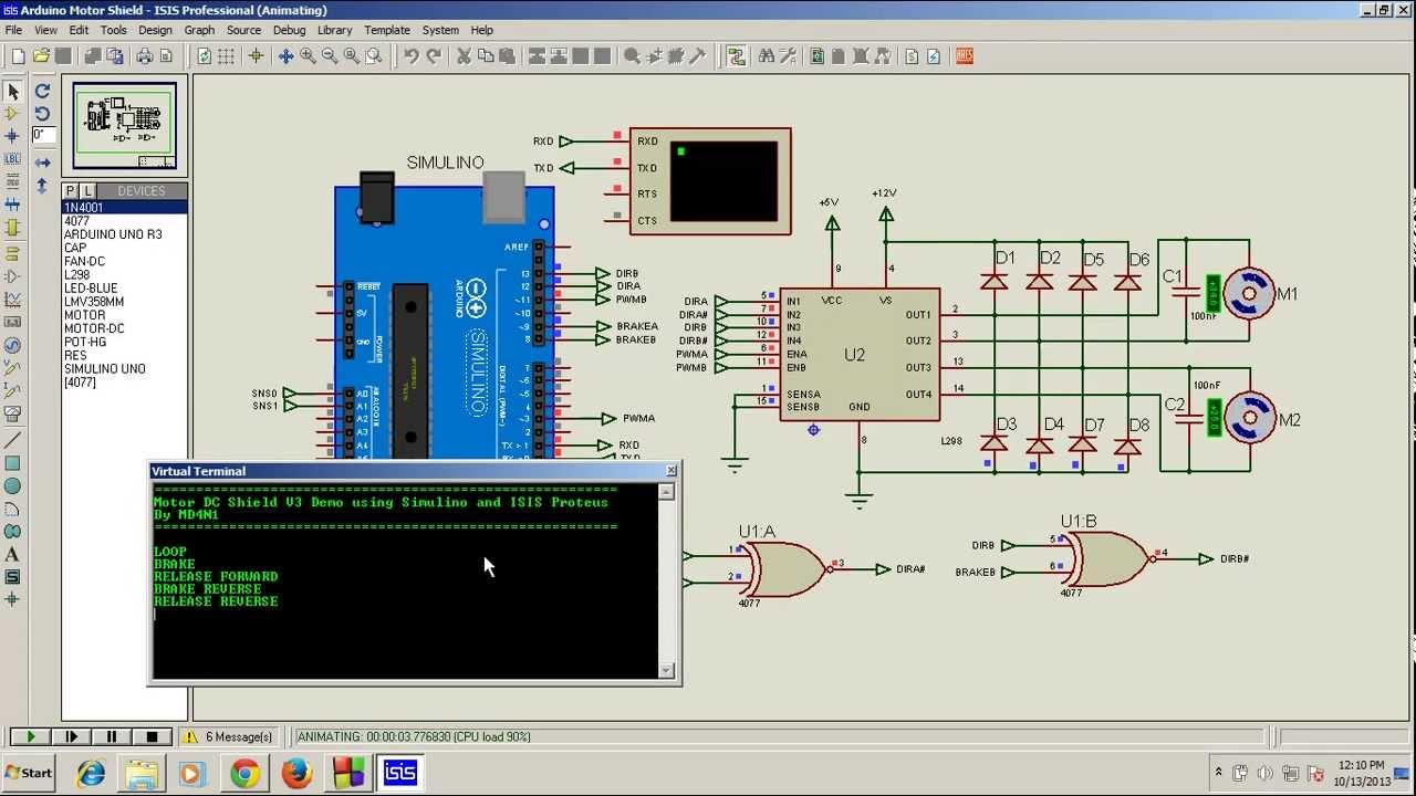 voltmeter wiring diagram for dc motor shield demo using simulino uno and isis proteus 7 9  motor shield demo using simulino uno and isis proteus 7 9