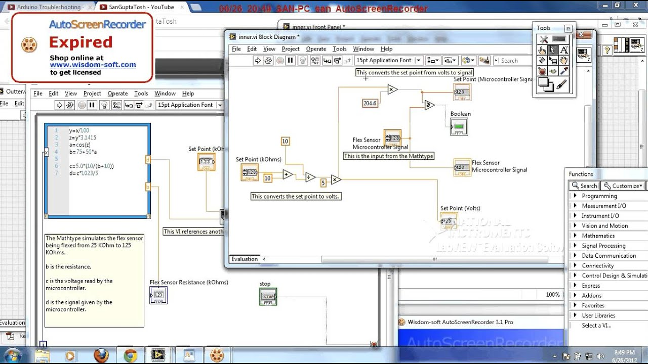Flex Sensor Simulation in LabVIEW