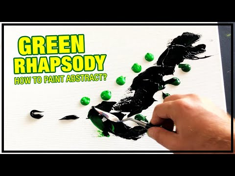Green Rhapsody Abstract Painting Demo / Day 044 / For Beginners / Daily Art Therapy