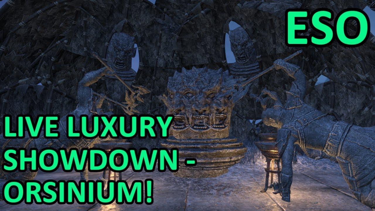 eso live luxury showdown 36 quick build housing contest with orc statues