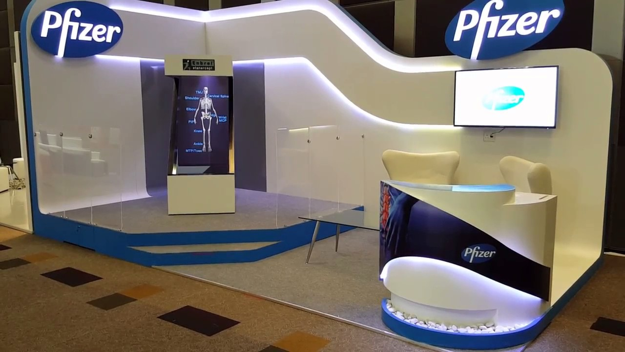 Exhibition Stand Logo : Z shaped d hologram unit done for a pfizer exhibition