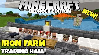 Minecraft Bedrock: Working Simple IRON FARM! And Villager Trading Hall! Village And Pillage Update