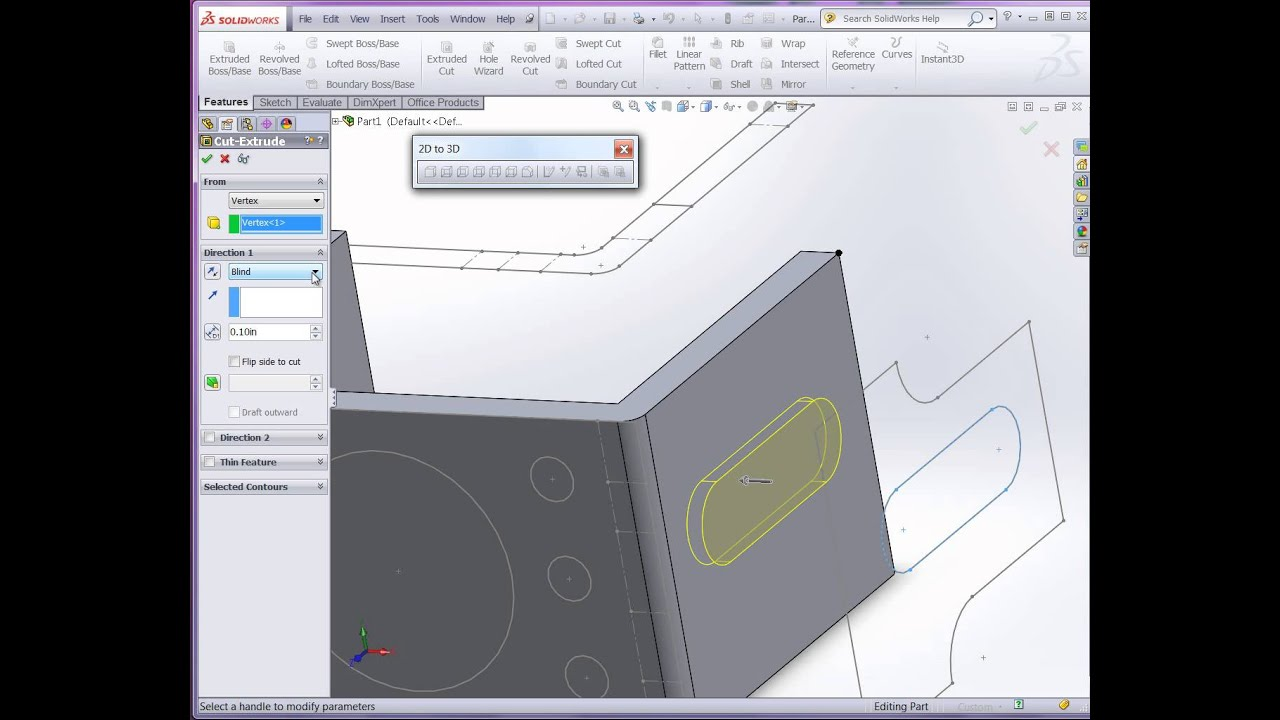 Convert A 2d Dwg To Solidworks 3d Model Youtube