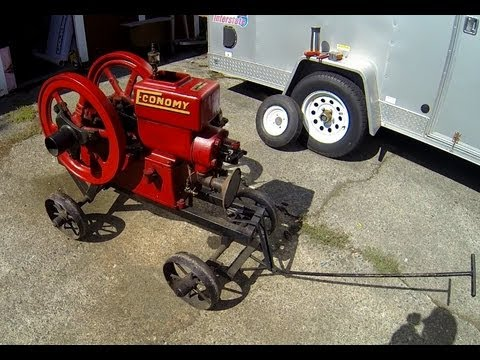 Almost 100 year old Economy Hit and miss 2-1/2 hp engine start, walkaround and shut down