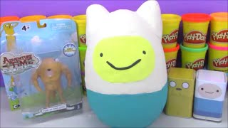 Giant Adventure Time Surprise Egg Play Doh Finn and Jake with Toys from Minecraft and More