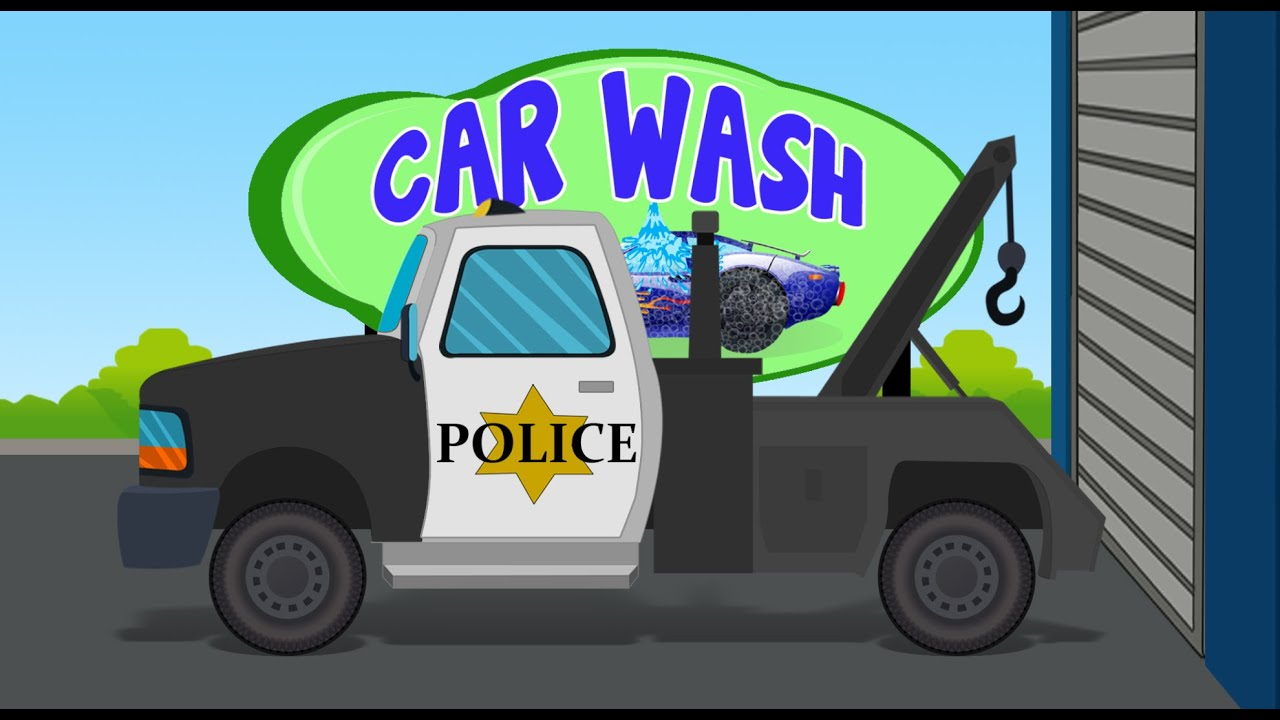 police tow truck car wash games for kids toddlers