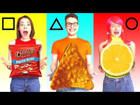 GEOMETRIC SHAPES FOOD CHALLENGE | Eating Funky & Gross Impossible Foods by Ideas 4 Fun Challenge