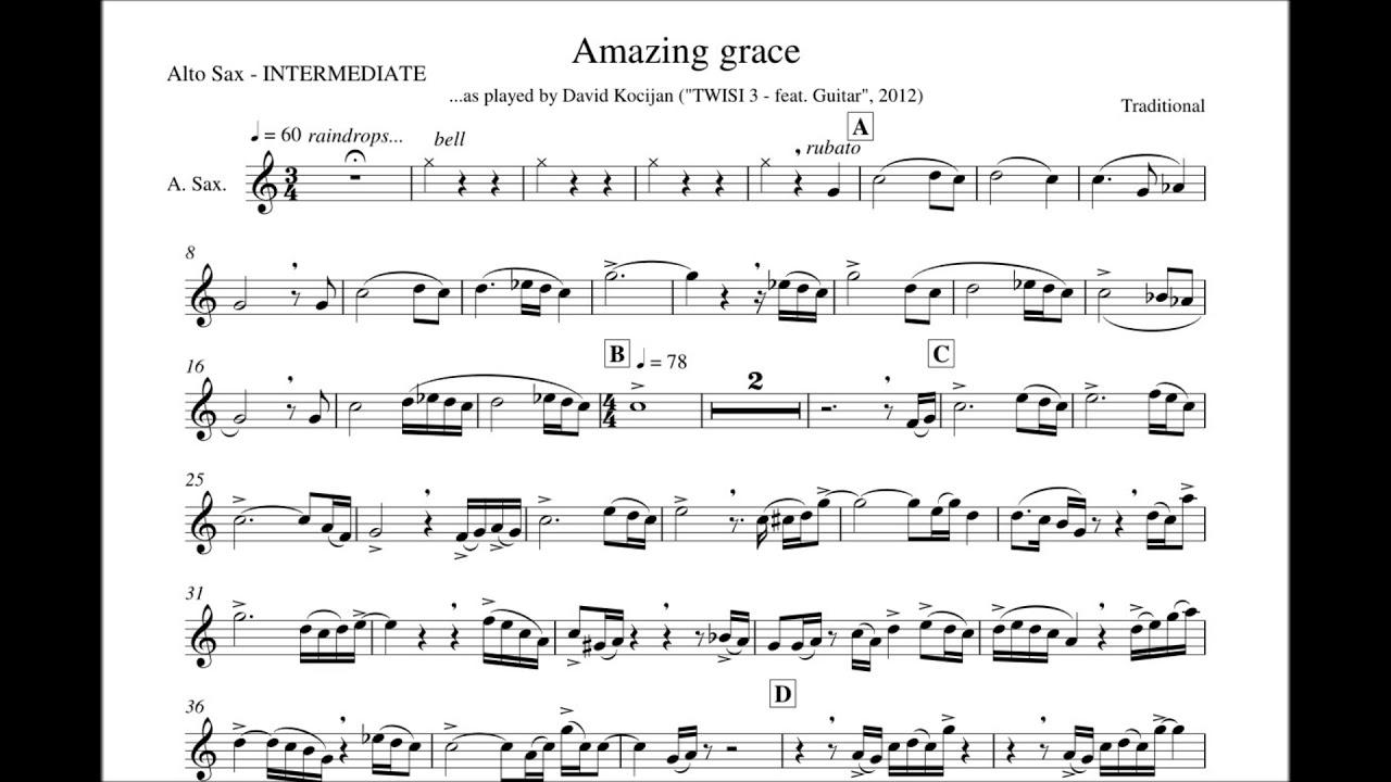 Sheet Music Grace Sax Solo Tenor Amazing
