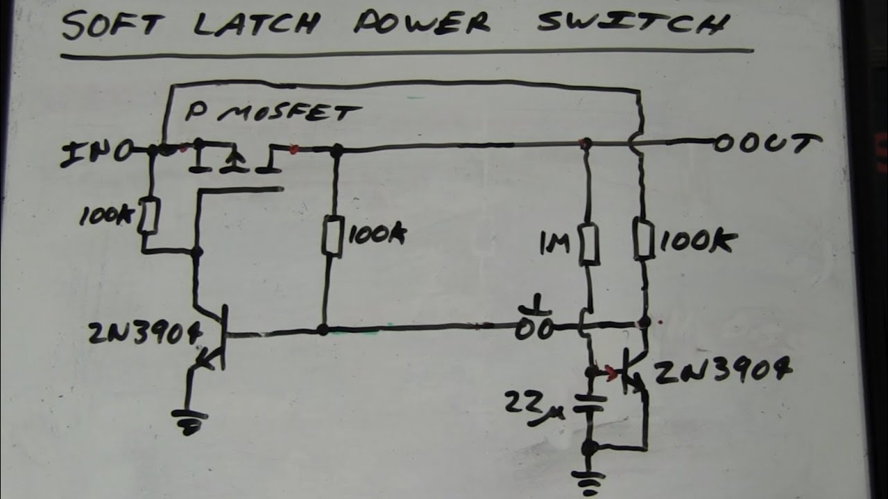 eevblog 262 world s simplest soft latching power switch circuit [ 1280 x 720 Pixel ]