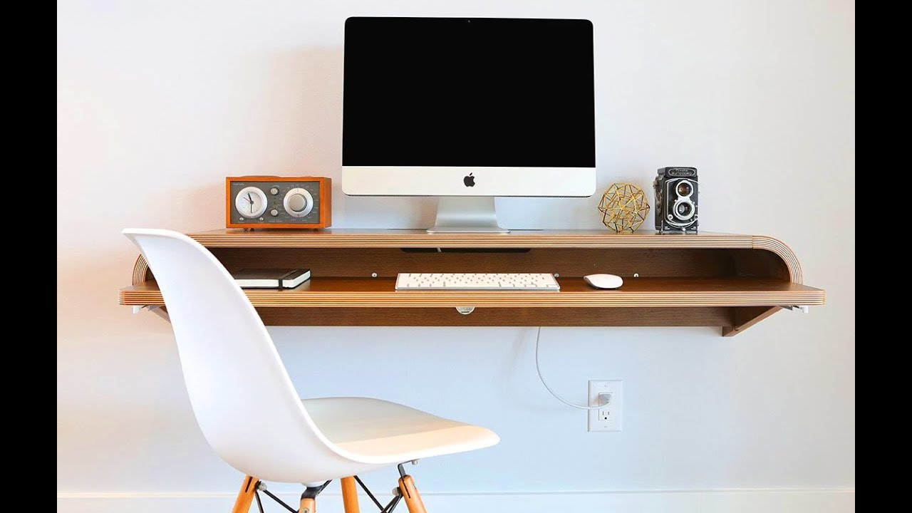 - Wall Mounted Computer Desk Designs - YouTube