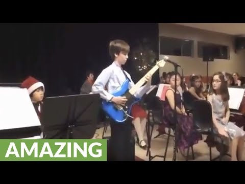 10-year-old totally crushes Van Halen guitar solo