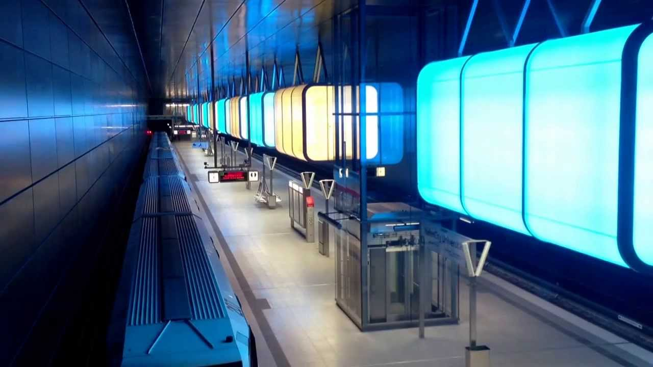 hamburg lightshow u bahn metro station hafencity youtube. Black Bedroom Furniture Sets. Home Design Ideas