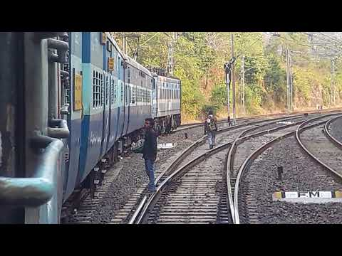 Beautiful Rail  Turning View With Blue WAG7  Loaded Passenger Train