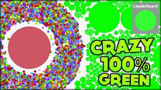 CRAZY 100% GREEN TEAM AND HUGE GIVEAWAY CELL IN AGARIO! NEW AGAR.IO EXPERIMENTAL TEAM (Agario #80)