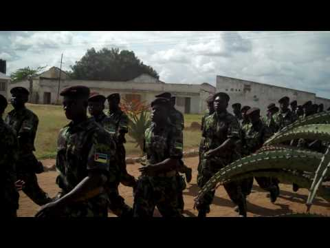 Mozambican military sings as they march to chow