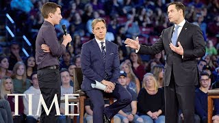 Florida Shooting Survivor Confronts Marco Rubio: 'More NRA Money?' | TIME