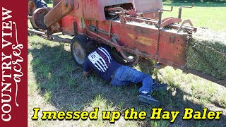 I messed up the hay baler.  Finishing up our last cut of hay.