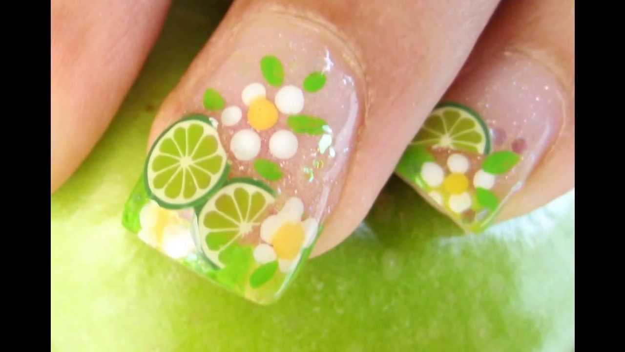 LIME NAIL DESIGN Diseño de Limon para uñas con fimo cane slices