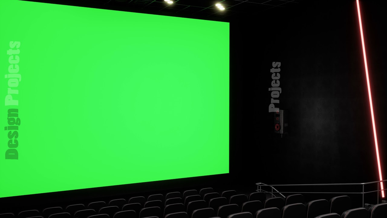 Cinema Interior Of Movie Theatre With Blank Movie Theater Screen With Green Screen And Empty Seats Youtube