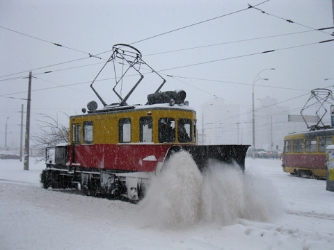 Snow plow train in the city Novosibirsk