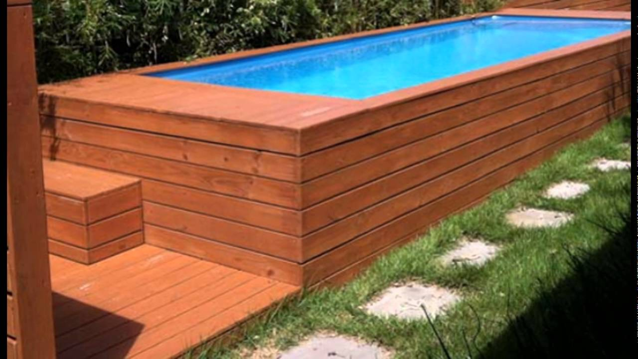 Rectangle Above Ground Pool above ground pool design idea from recycled steel dumpster - youtube