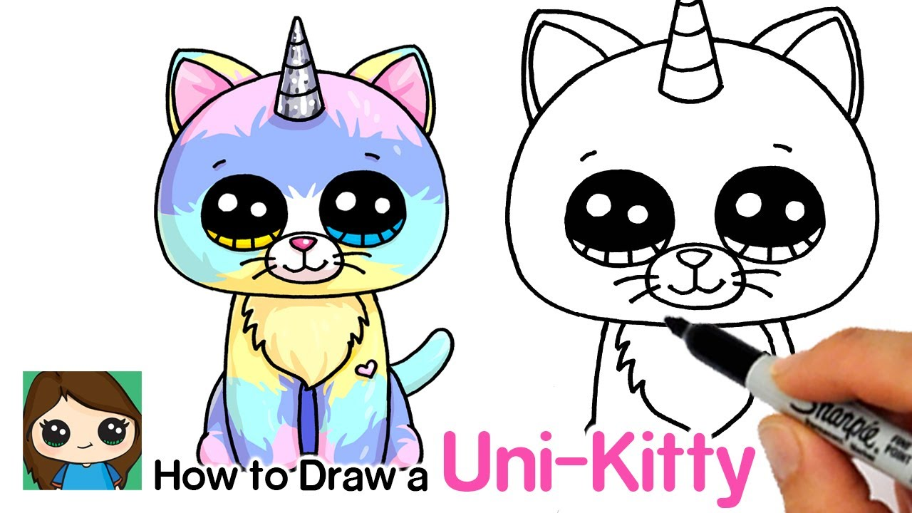 How To Draw A Unicorn Kitty Easy Beanie Boos Youtube Kitty Drawing Cute Kawaii Drawings Cute Little Drawings