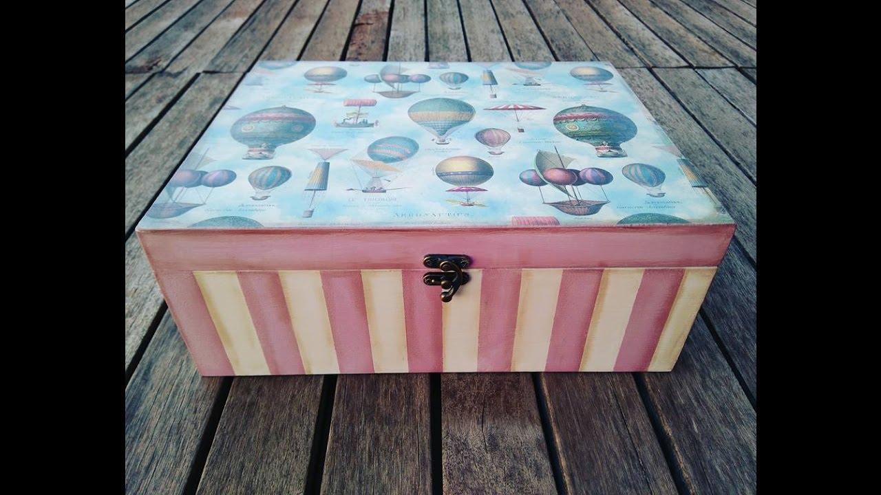 C mo decorar una caja de madera vintage youtube - Como decorar una caja de madera ...