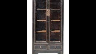 Black Lacquer Glass Door Display Cabinet F220