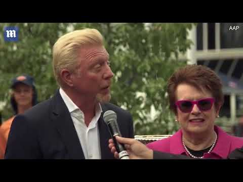 Billie Jean King and Boris Becker arrive with Australian Open cups