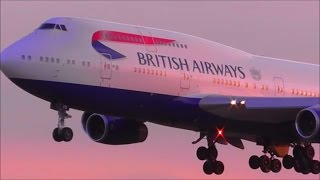 Sunset Heavies at London Heathrow Airport, LHR   Over 30 Minutes!    20/04/16