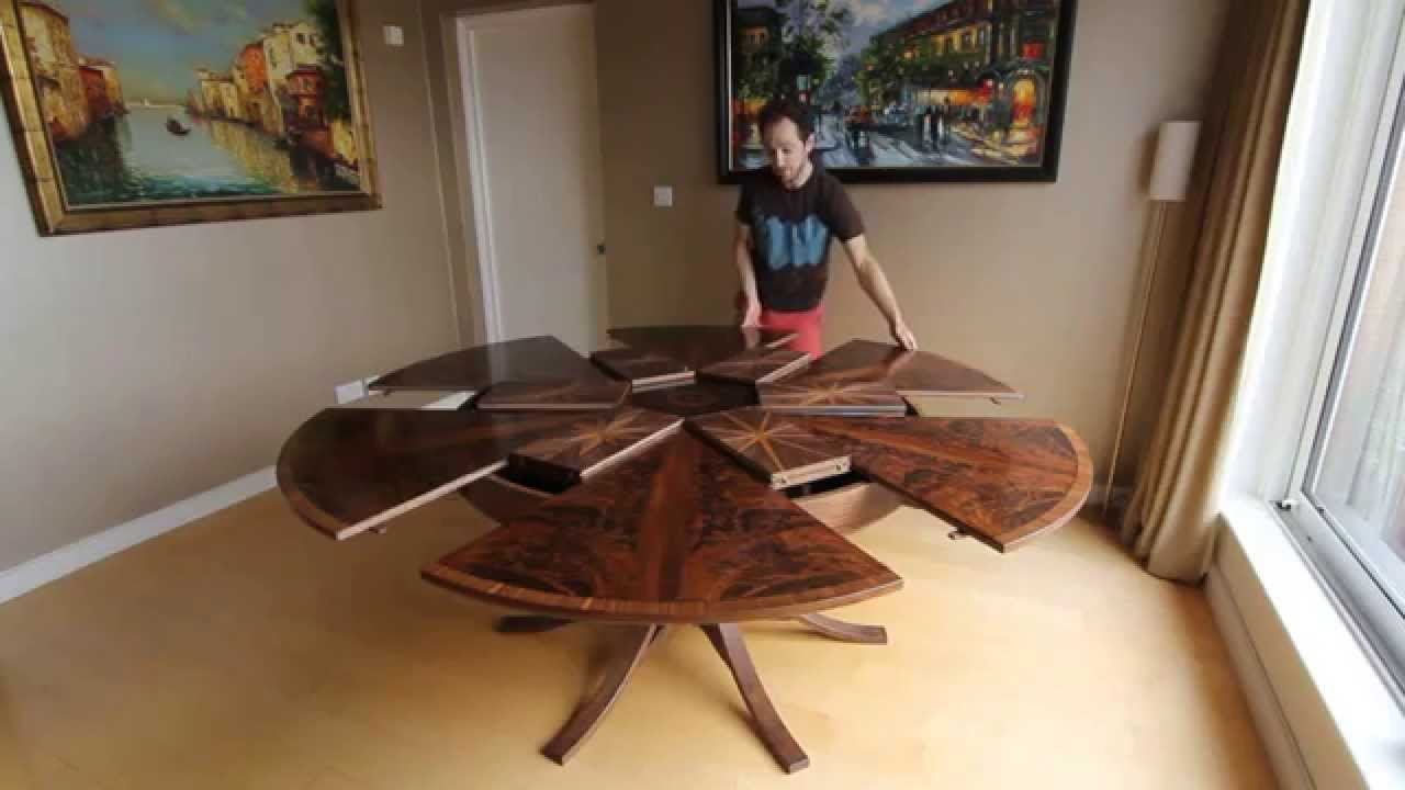 Round Dining Table With Extensions Expanding Circular Dining Table In Walnut