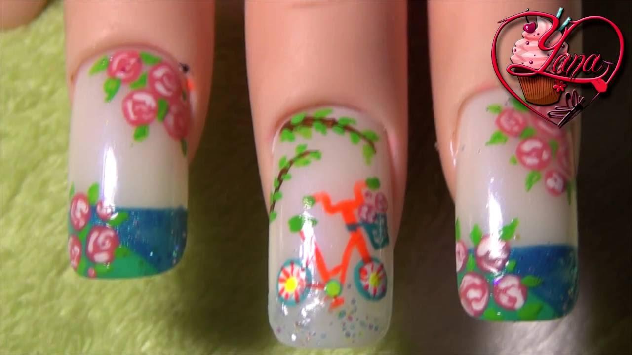 decoraciones de uas de una hermosa bici yana nail art