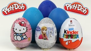 play doh giant kinder surprise eggs cars 2 peppa pig frozen barbie hello kitty toy