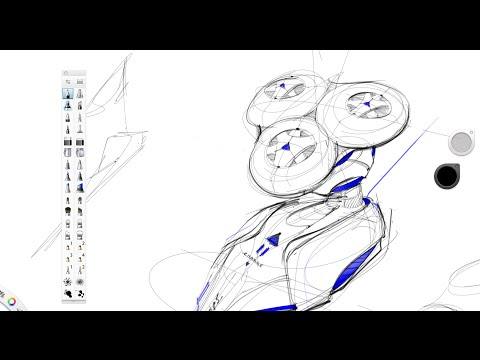 Drawing a Razor with a Cintiq 22HD | Industrial Design sketching