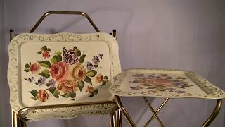 4 Vintage Antique Metal Tin Tole Painted Rose Flower Tv Tray Tables W/ Cart Set