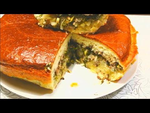 Заливной пирог с картофелем и рыбой