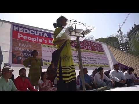 Save Public Funded Education : JNUSU President Geeta Kumari addressing at FEDCUTA's People's March