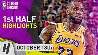 LeBron James FULL 1st HALF Highlights Lakers vs Trail Blazers 2018.10.18 - 18 Pts, 7 Reb