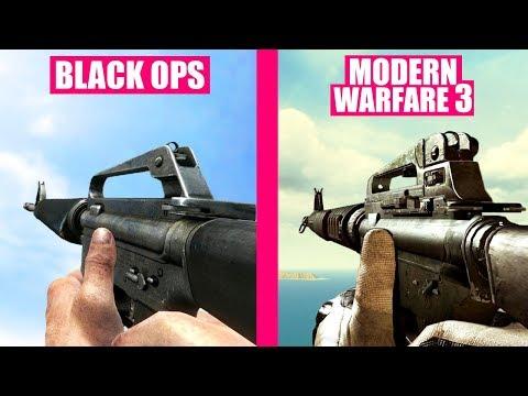 Call of Duty Black Ops Guns Reload Animations vs Modern Warfare 3