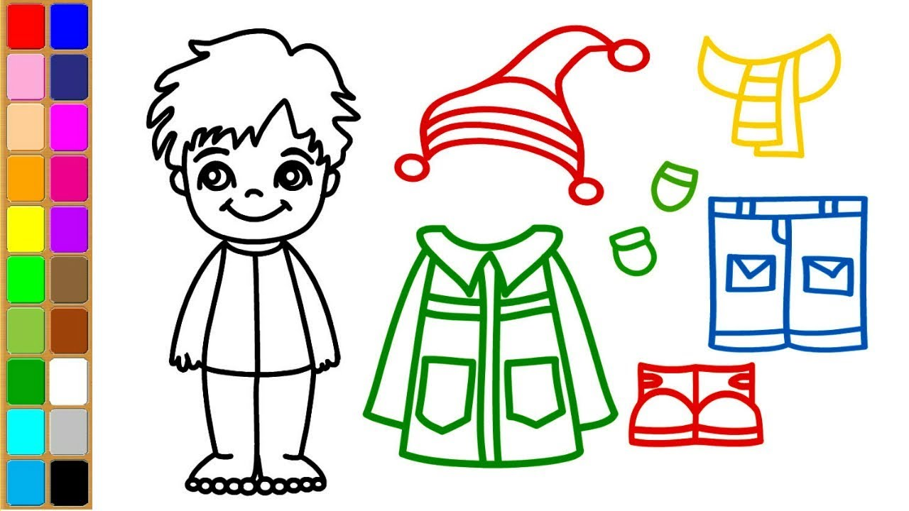 Boys Dress for Winter | Draw Color and Boy Dress Up | Art Video for ...