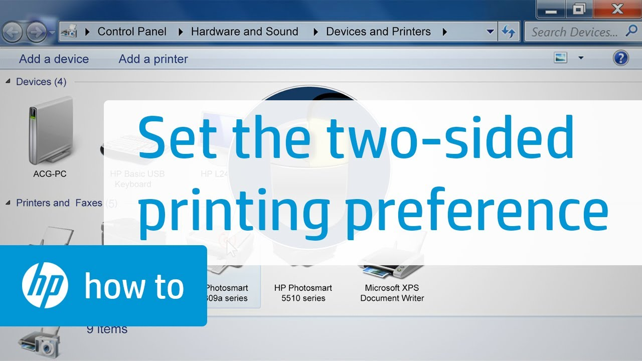 Setting The Two Sided Printing Preference For Your Hp