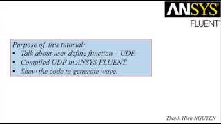 NTH - Tutorial Generate Wave by UDF in ANSYS FLUENT