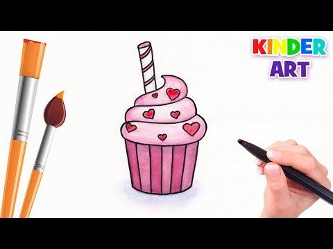 Как нарисовать кекс / пирожное на День Валентина | How To Draw A Cupcake