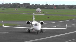 Learjet 45 M-MRBB Awesome landing and takeoff - Gloucestershire Airport