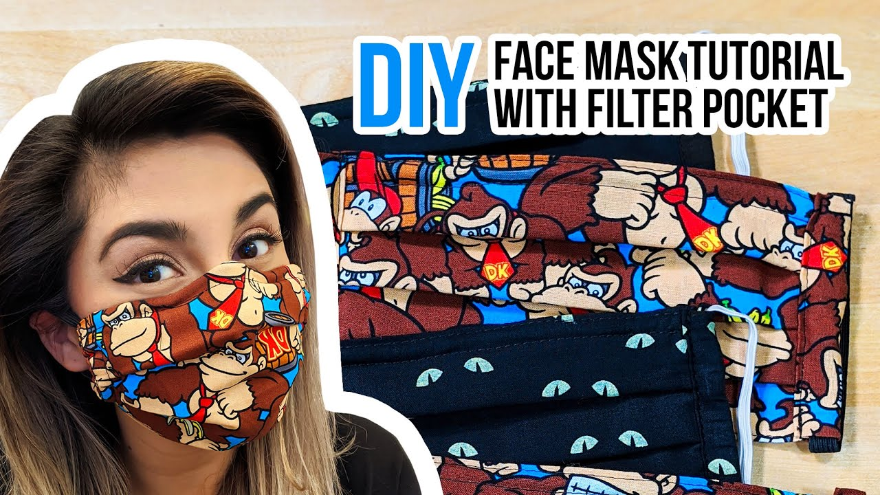 How To Make a FACE MASK With A Filter Pocket   DIY Sewing ...